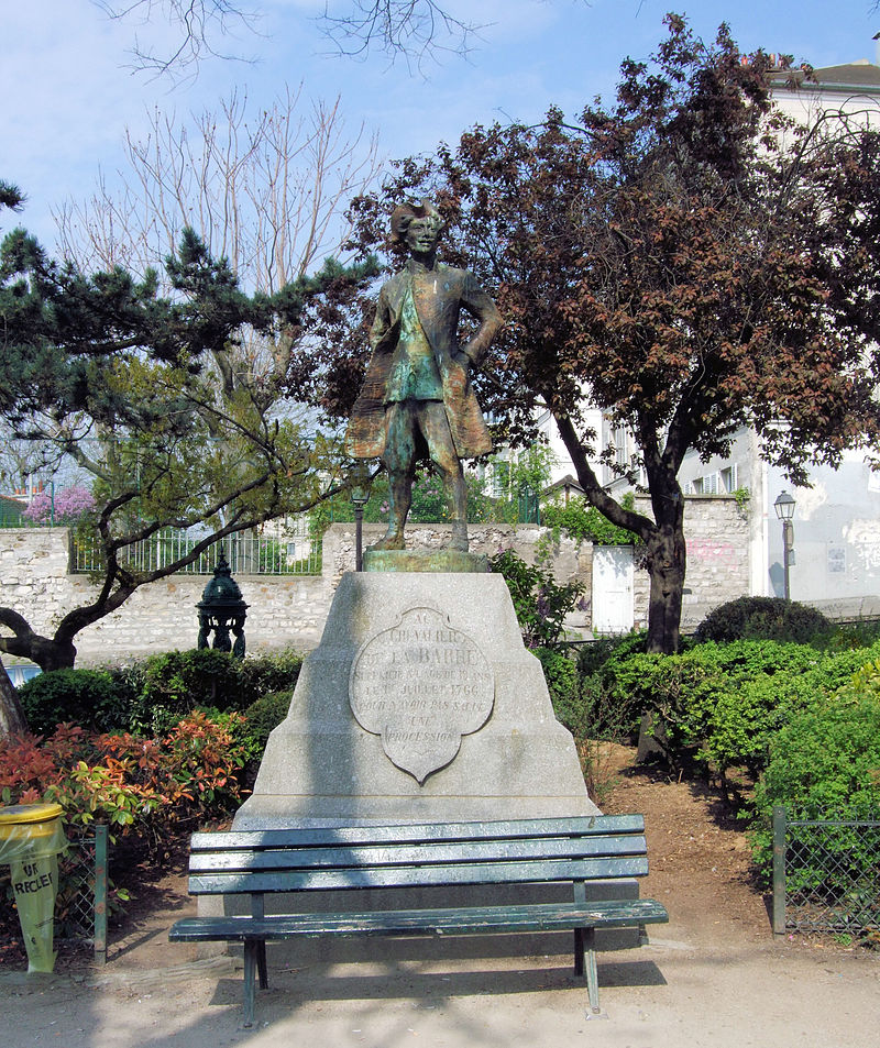 Chevalier de la Barre Statue In Montmartre - Paris 2013.jpg