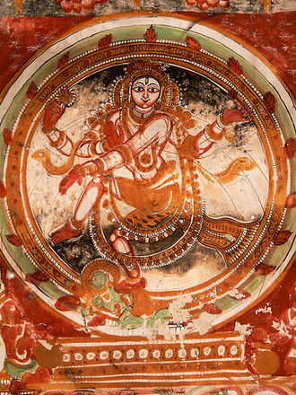 Chidambaram - A fresco of Nataraja on the walls of the temple depicting the dance posture of the presiding deity