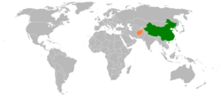 Map indicating locations of China and Afghanistan