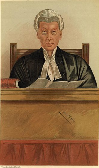 """Joseph William Chitty - """"The Umpire"""" Justice Chitty as caricatured by Spy (Leslie Ward) in Vanity Fair, March 1885"""