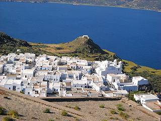 A volcanic Greek island in the Aegean Sea, just north of the Sea of Crete