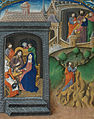 Christ tells his mother of what is to come; Judas on his way to the chief priest; Judas bargaining with the chief priests and receiving his silver (f. 27v) Cropped.jpg
