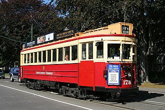 Trams in New Zealand - Vintage Christchurch Boon-built Tram No 178 on the Christchurch Tramway