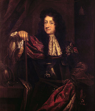 Christian V of Denmark - Jacob d'Agar crafted the official portrait of the king, who poses with his hand authoritatively placed on the marshal's baton, as a true absolute monarch, ca. 1685.