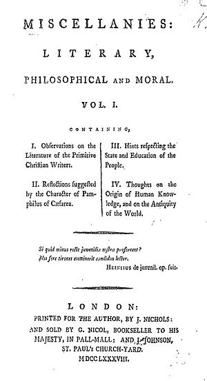 Thomas Christie - Title page from the first edition of Miscellanies
