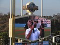 Christopher Lloyd Being Awesome (and Introducing the Dodgers Starting Lineup), Dodger Stadium, Los Angeles, California (14331452247).jpg