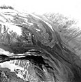 Chulitna Glacier, junction and terminus of valley glacier turning into a rock glacier, September 5, 1966 (GLACIERS 7181).jpg