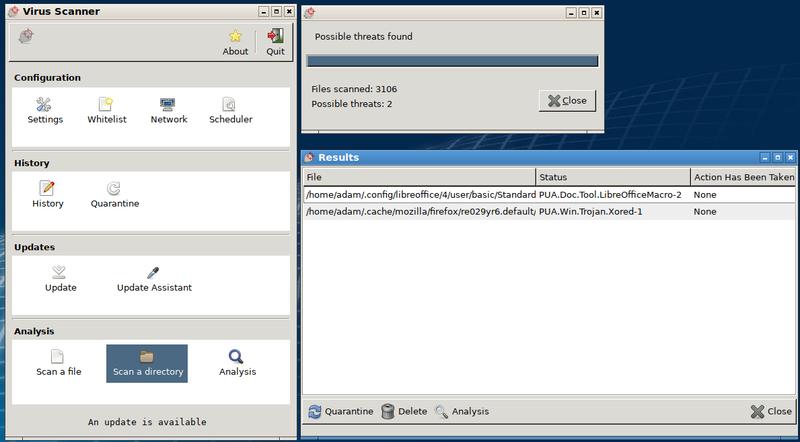 File:ClamTk 5.27.png Description English: ClamTk 5.27 antivirus running on Lubuntu 19.04, identifying two suspicious files.