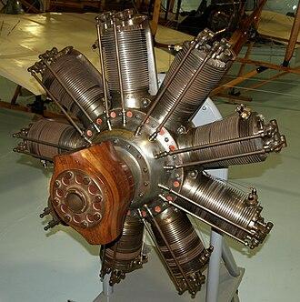 Fleet Air Arm Museum - Clerget 9B rotary engine on display