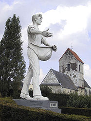 The Sower and Saint-Barthélémy's church
