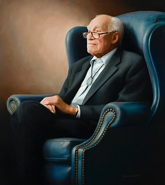 Clifford Hansen - Clifford Hansen portrait painting, oil on canvas, by artist Michele Rushworth, State Capitol, Cheyenne, Wyoming