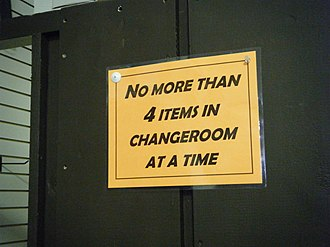 Changing room - Changeroom sign in clothing store