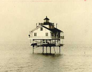 Cobb Point Bar Light - 1912 photograph of Cobb Point Bar Light (USCG)