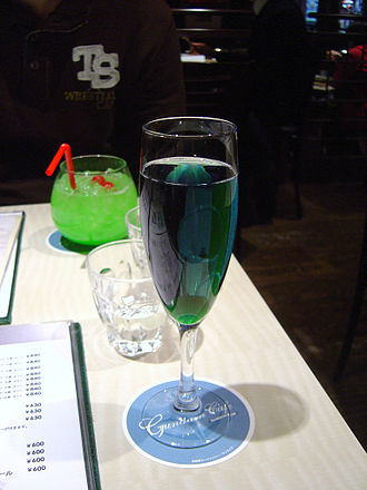 Bandai Museum - Athrun Zala mixed cocktail (front), with the Haro mixed beverage (back)