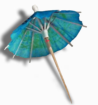 Cocktail umbrella - A typical cocktail umbrella. Notice the pink ring on the toothpick - it exists to keep the umbrella propped open.