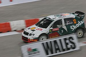 Colin McRae - McRae driving a Škoda Fabia WRC on the Millennium Stadium, Cardiff super special stage of the 2005 Rally GB.
