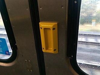 Comeng (train) - Image: Comeng Train Door Handle New Style