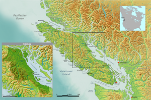 K'omoks - Map showing traditional territory of the Island Comox; Mainland Comox not shown