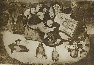 Concert in the Egg - Image: Concert dans l'œuf (suiveur de Bosch) coll. Pontalba Balny d'Avricourt
