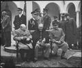 """Conference of the Big Three at Yalta makes final plans for the defeat of Germany. Here the """"Big Three"""" sit on the... - NARA - 531340.tif"""