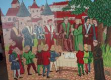 photographie montrant une représentation d'un Conseil des Neuf au Moyen Âge