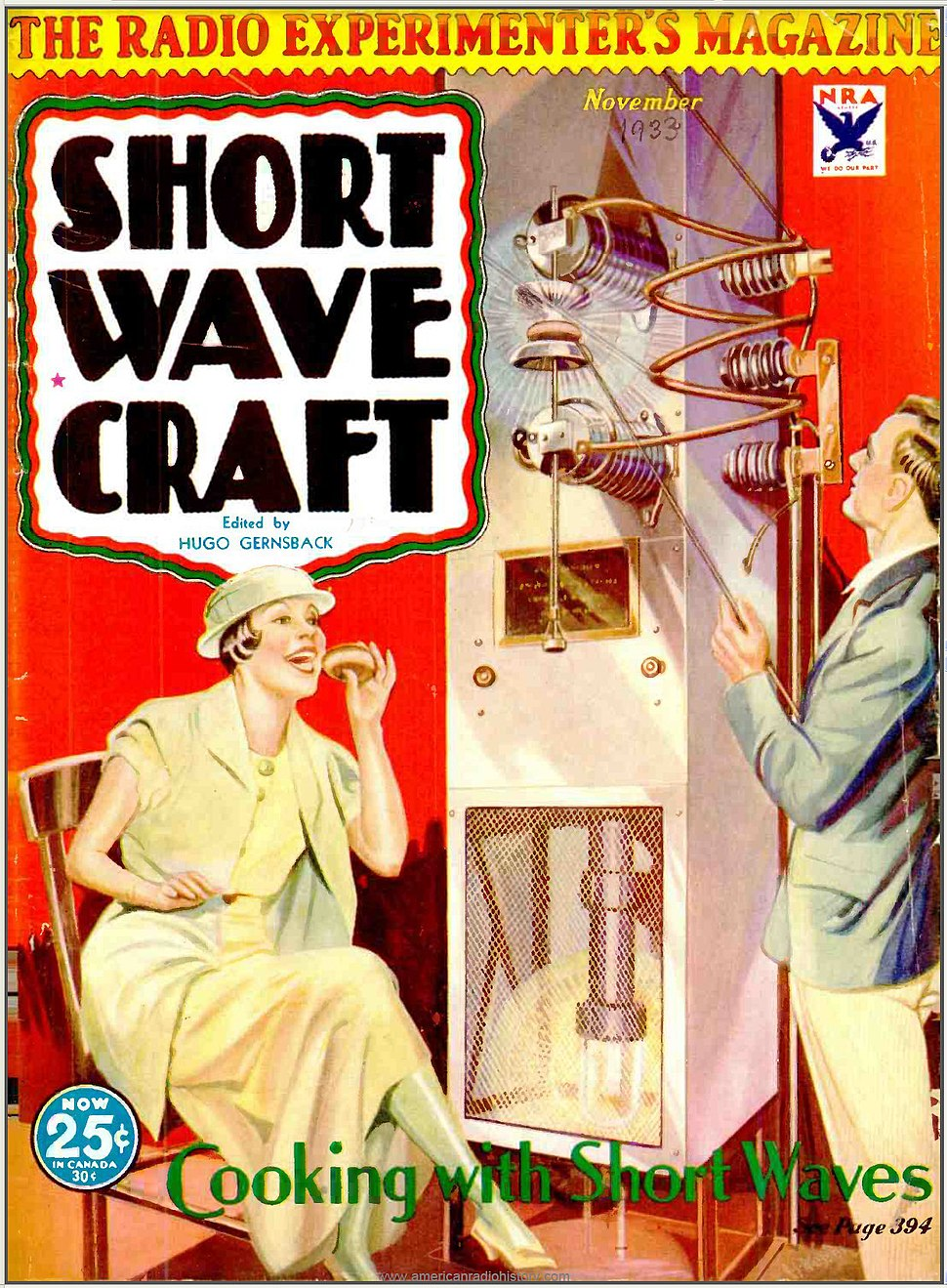 Cooking with radio waves - Short Wave Craft Nov 1933 cover