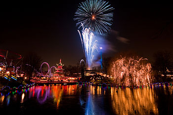 English: Fireworks over Copenhagen the night b...