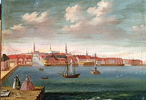 Johannes Rach - Port of Copenhagen with the long gone statue of Leda and the Swan, c. 1759
