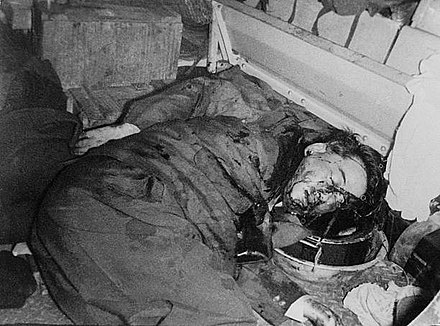 Ngo Dinh Diem after being shot and killed in a coup on 2 November 1963 Corpse of Ngo Dinh Diem in the 1963 coup.jpg