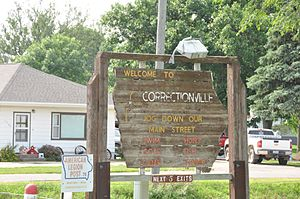 Correctionville, Iowa - Sign welcoming visitors