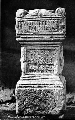 Brigantia (goddess) - Altar to Jupiter Dolichenus and Caelestis Brigantia from Corbridge, on a 1910 postcard