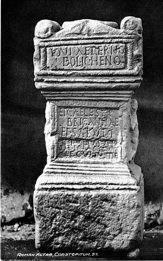 Brigantia (goddess) - Altar to Jupiter Dolichenus and Caelestis Brigantia from Corbridge, on a 1910 postcard