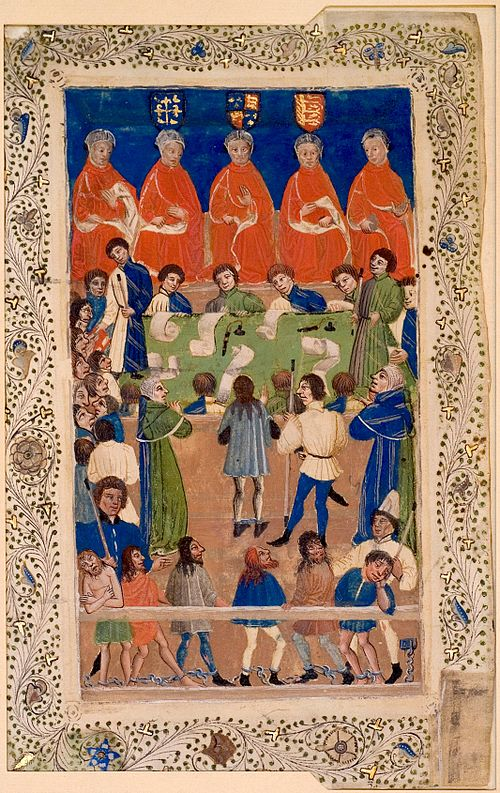 The Court of King's Bench at work.  This illuminated manuscript from about 1460 is the earliest known depiction of the English court.[1]