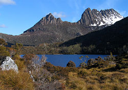 A Cradle Mountain és a Dove Lake a Central Highlandsben