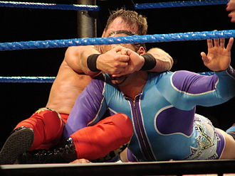 Professional wrestling holds - Chris Benoit applying the Crippler Crossface to Montel Vontavious Porter