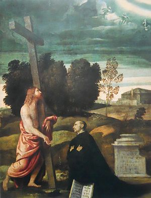 Christ carrying the cross before a kneeling figure