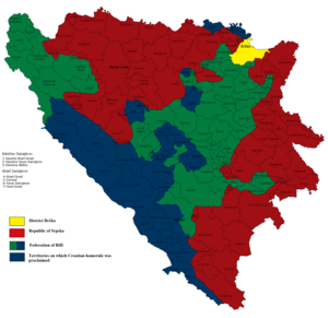 Croat entity in Bosnia and Herzegovina - Proposed Croat subdivision of Bosnia and Herzegovina in 2001 (in blue).