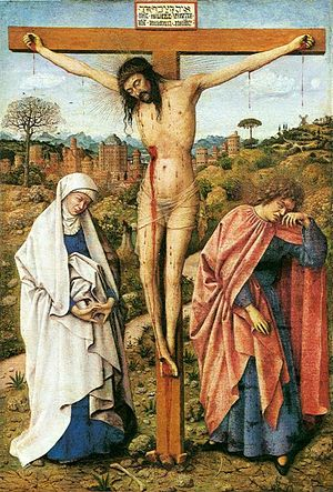 Christ on the Cross with the Virgin and Saint John - Christ on the Cross with the Virgin and Saint John, 43 x 26cm, c. 1435. Gemäldegalerie, Berlin