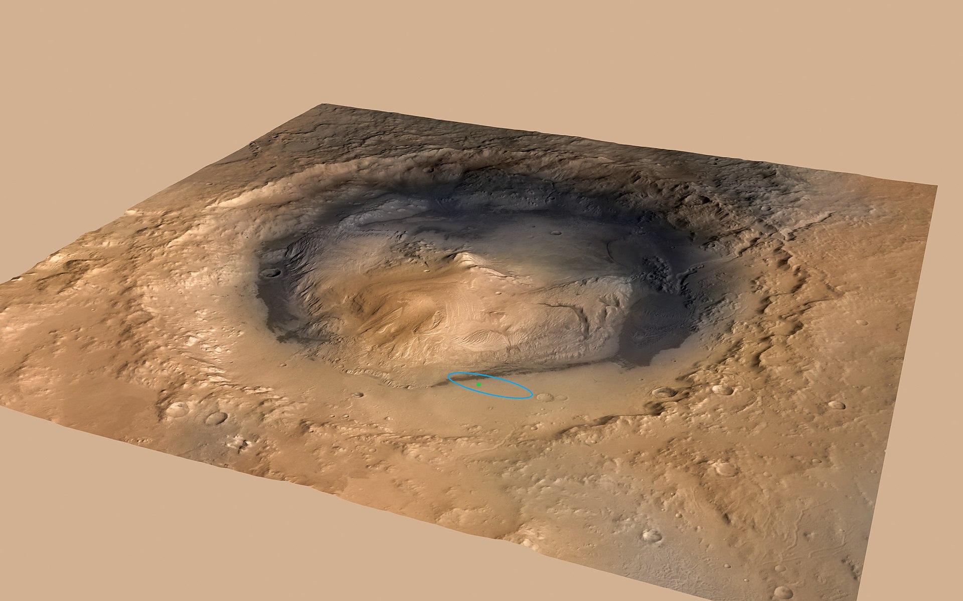 ภาพของ Gale Crater ขนาดเส้นผ่านศูนย์กลาง 154 กิโลเมตร โดยจุดวงกลมในภาพคือคือ จุดลงจอดของยาน Curiosity rover