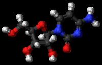 Pilk-kaj-bastona modelo de la citidinmolekulo