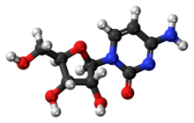 Ball-and-stick model of the cytidine molecule