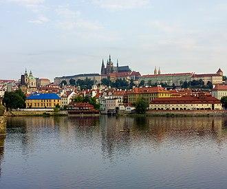 Prague Castle - Image: Czech 2013 Prague View from Charles Bridge of Prague Castle
