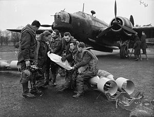 No. 311 Squadron RAF - A 311 Squadron flight crew with their Wellington bomber at RAF East Wretham