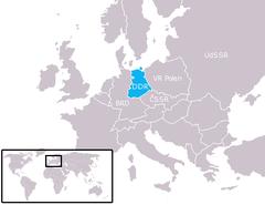 Østtysklands beliggenhed