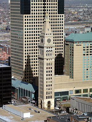 National Register of Historic Places listings in Denver - Daniels and Fisher Tower, Downtown. Constructed in 1910, it was the tallest building between the Mississippi River and California at the time.