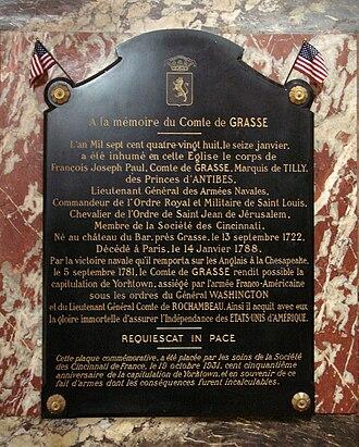 François Joseph Paul de Grasse - Tomb of de Grasse in the Church of Saint-Roch, Paris
