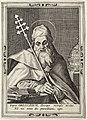 De heilige Gregorius. Hij draagt de bisschopsmantel en zijn pauselijke mijter ligt naast hem op een tafel. De prent heeft een Latijns onderschrift. NL-HlmNHA 1477 53008182.JPG