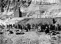 Decauville railway used at the clearance and excavation of the Temple of Hatshepsut at Deir-el-Bahri by Naville (1893-1898) 03.jpg