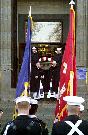 Elmo Zumwalt - Zumwalt's casket being carried by pallbearers at his funeral in January 2000.