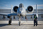 Defense.gov News Photo 120120-F-XH170-115 - A 451st Expeditionary Aircraft Maintenance Squadron crew chief waits for the pilot s call to pull the chocks during an A-10 Thunderbolt II aircraft.jpg